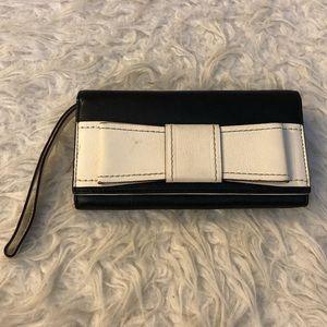 Kate Spade Villabella Mara wallet black white bow